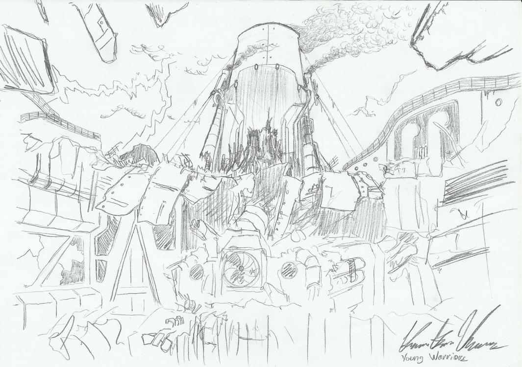 Badly damaged spaceship, Majestic. by Admiral-Kevin