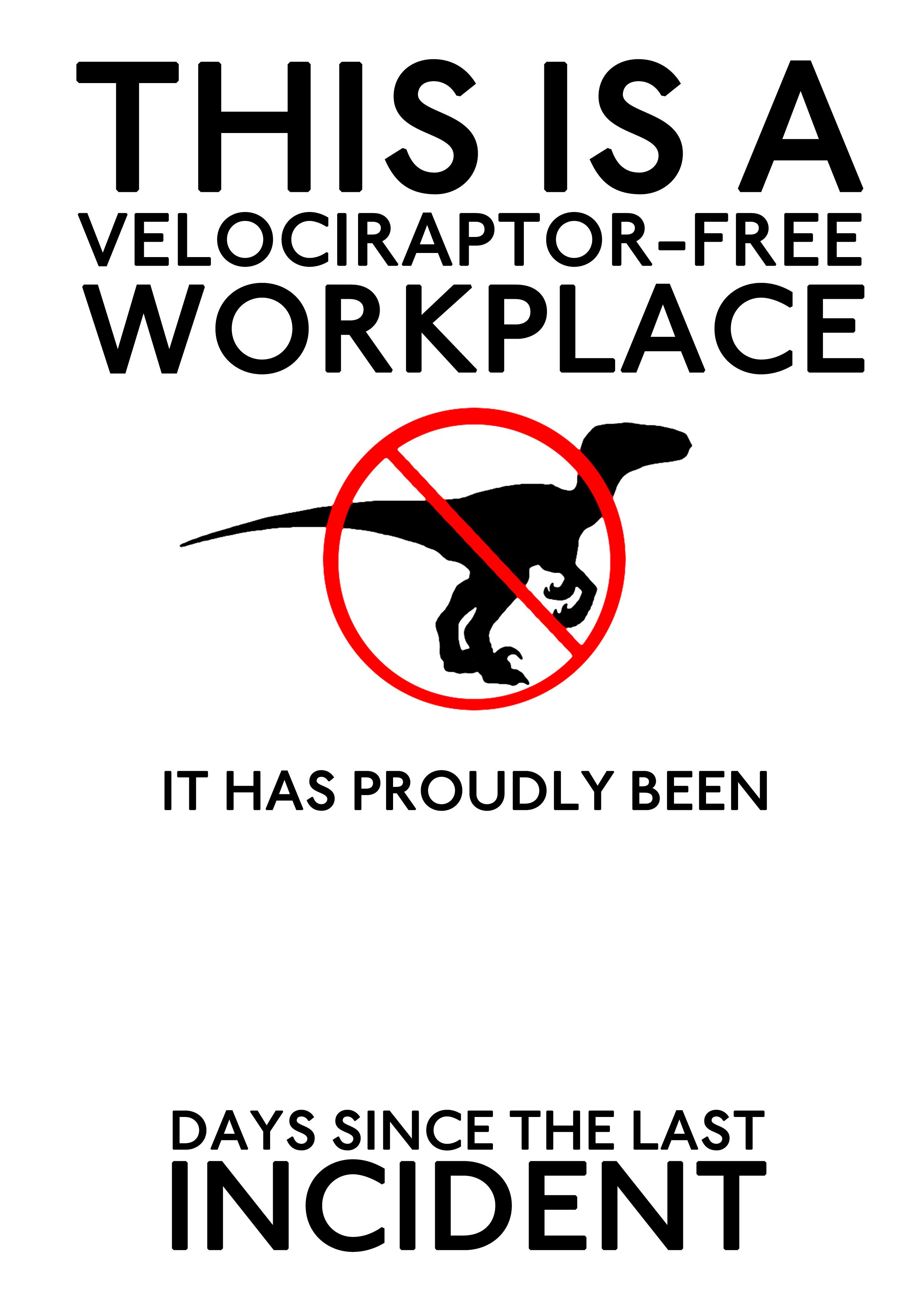 Velociraptor-Free Workplace by ki