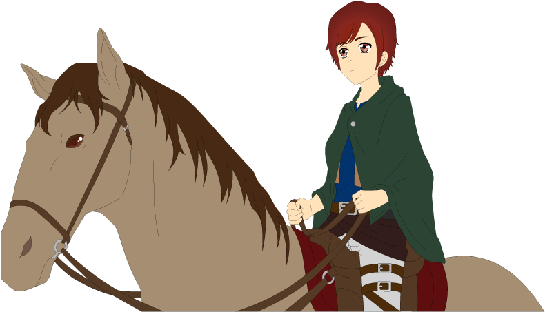 Danielle rising on horse by Ayahime0