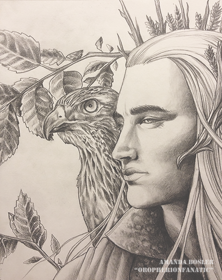 Thranduil and his Falcon by TheSilverWyrm