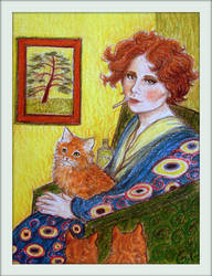Young Woman with Cats