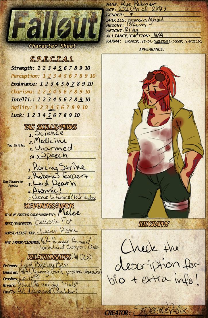 Fallout New Vegas Character Sheet Oc Meme Rue By Spectrekoix On Deviantart