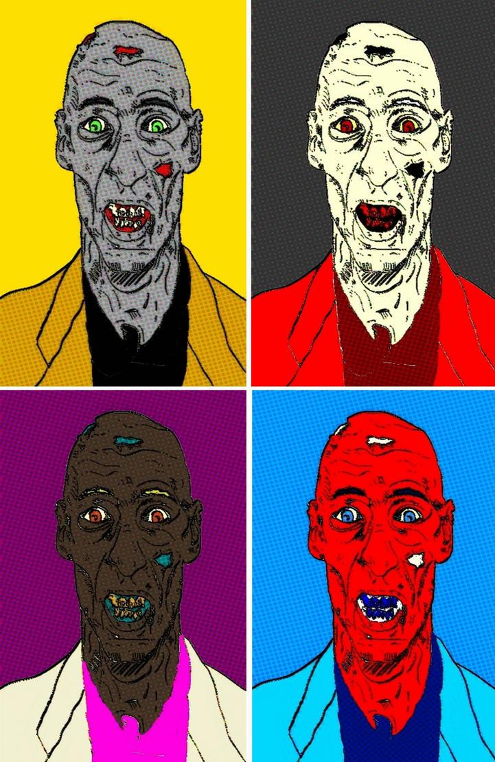 Zombie comic print four panel pop art by TheGreatDevin