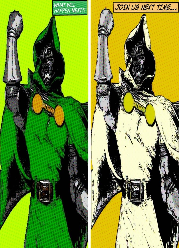 Dr. Doom two panel pop art by TheGreatDevin