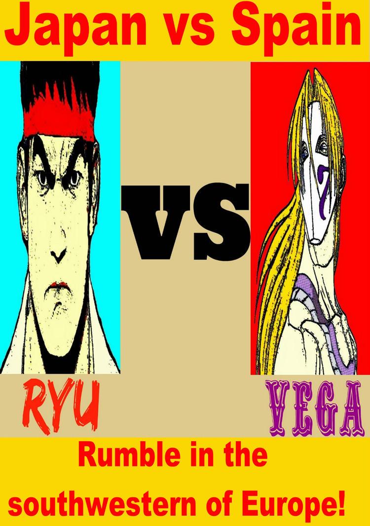 Street Fighter Pop Art Ryu vs Vega by TheGreatDevin