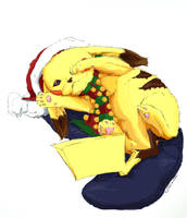 Christmas Pikachu by kidbrainer