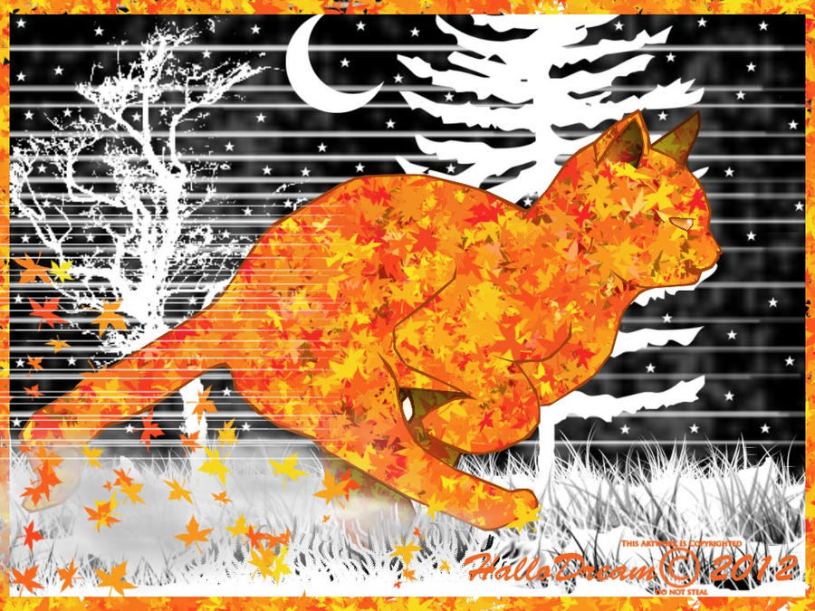 Running Autumn Cat by HalloDream