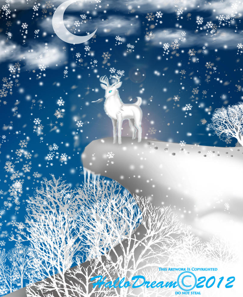 Winter White Deer seeks for Winter Holidays by HalloDream