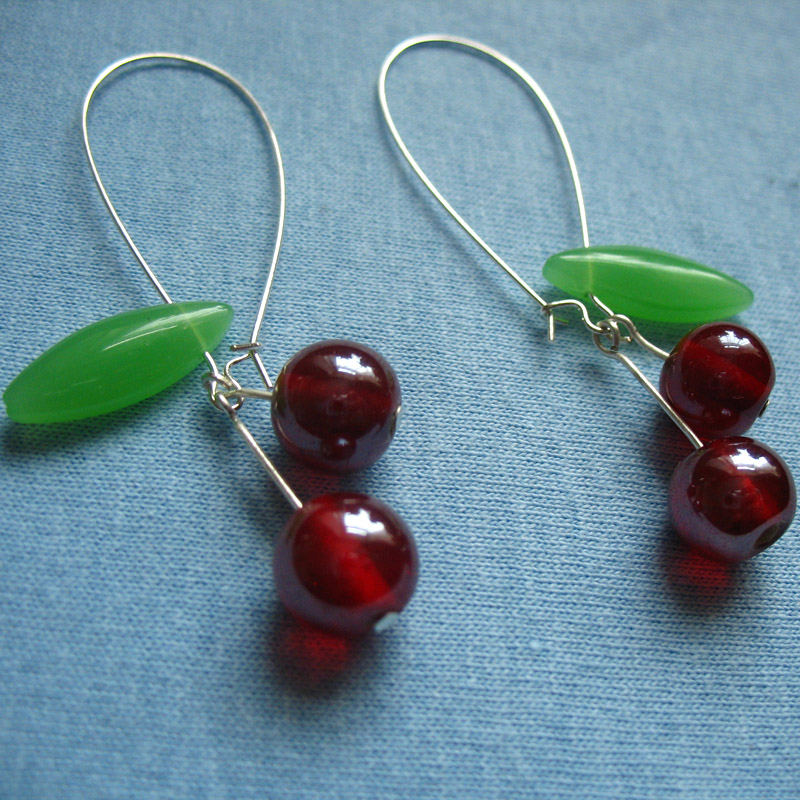 Long Cherry earrings in red by Mimi-Mushroom
