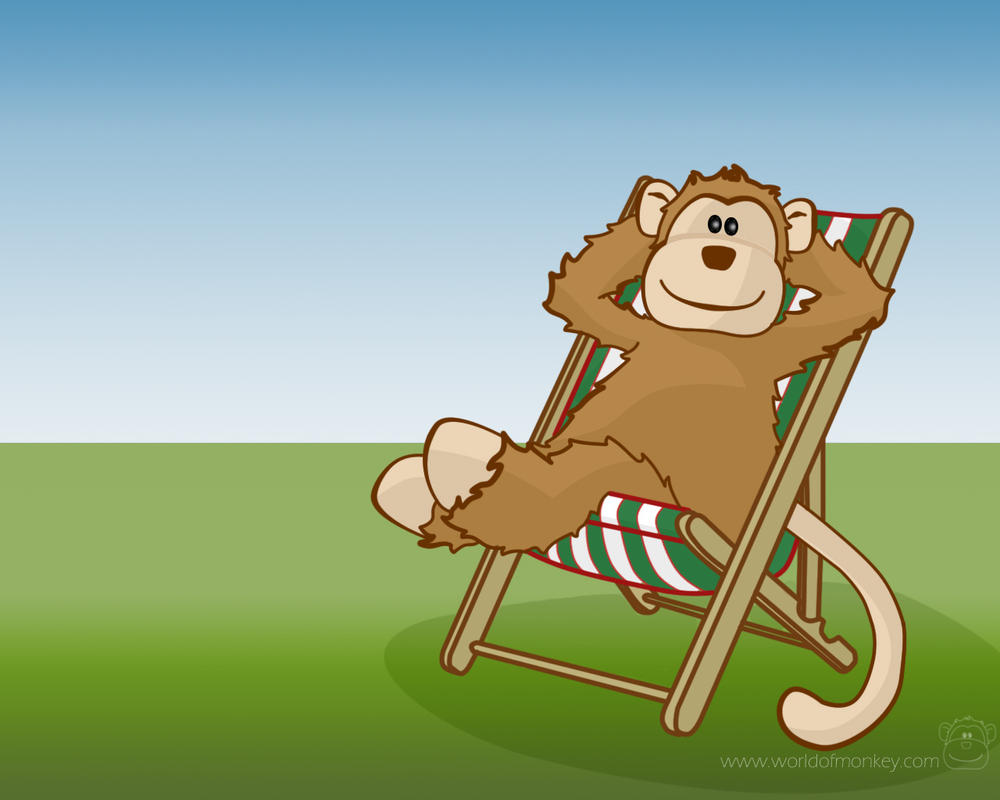 Monkey relaxing in Deckchair by Mimi-Mushroom