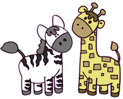 Zebra + Giraffe by Mimi-Mushroom