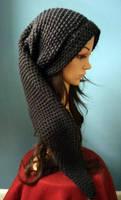 Long Crochet Black Link Beanie