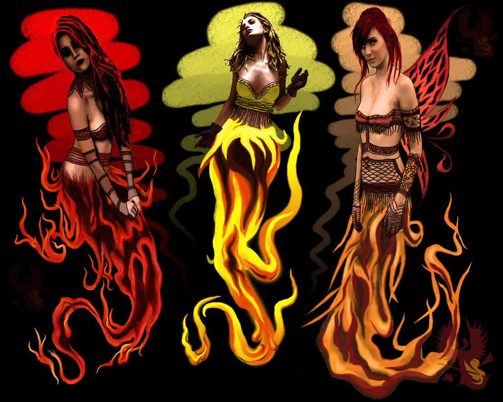 Flaming Sprites by phoenix-muse