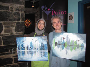 Raederle and Greg at Paint Nite