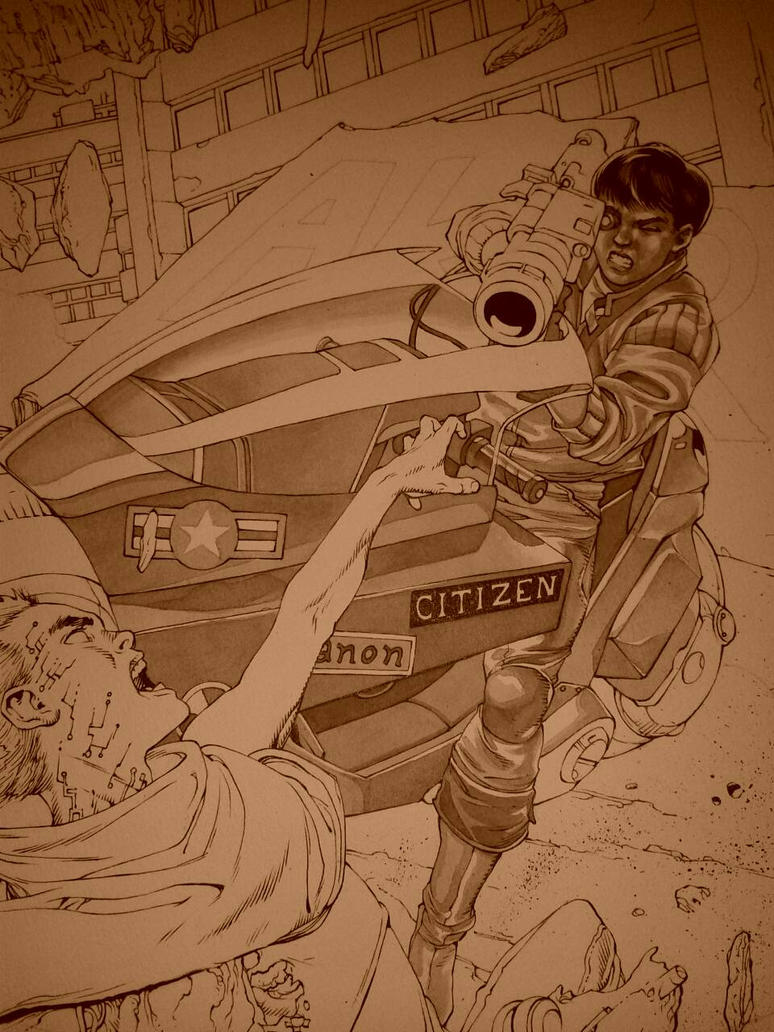 Akira_ink Wash Painting_detail by AllJeff