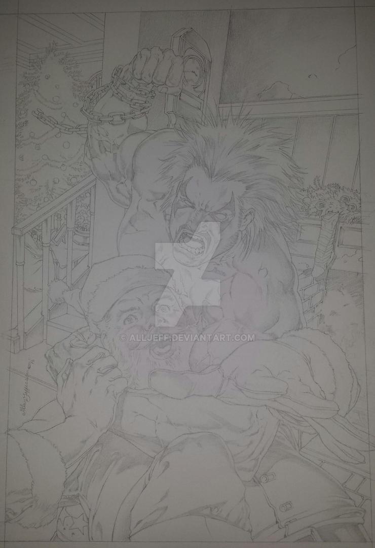 Lobo vs. Santa Claus_pencil by AllJeff