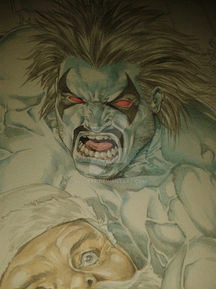 Lobo vs. Santa Claus_Watercolor_detail 1 by AllJeff