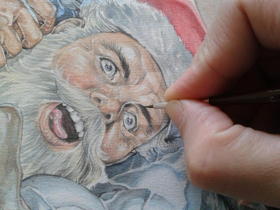 Lobo vs. Santa Claus_Watercolor_detail 2 by AllJeff