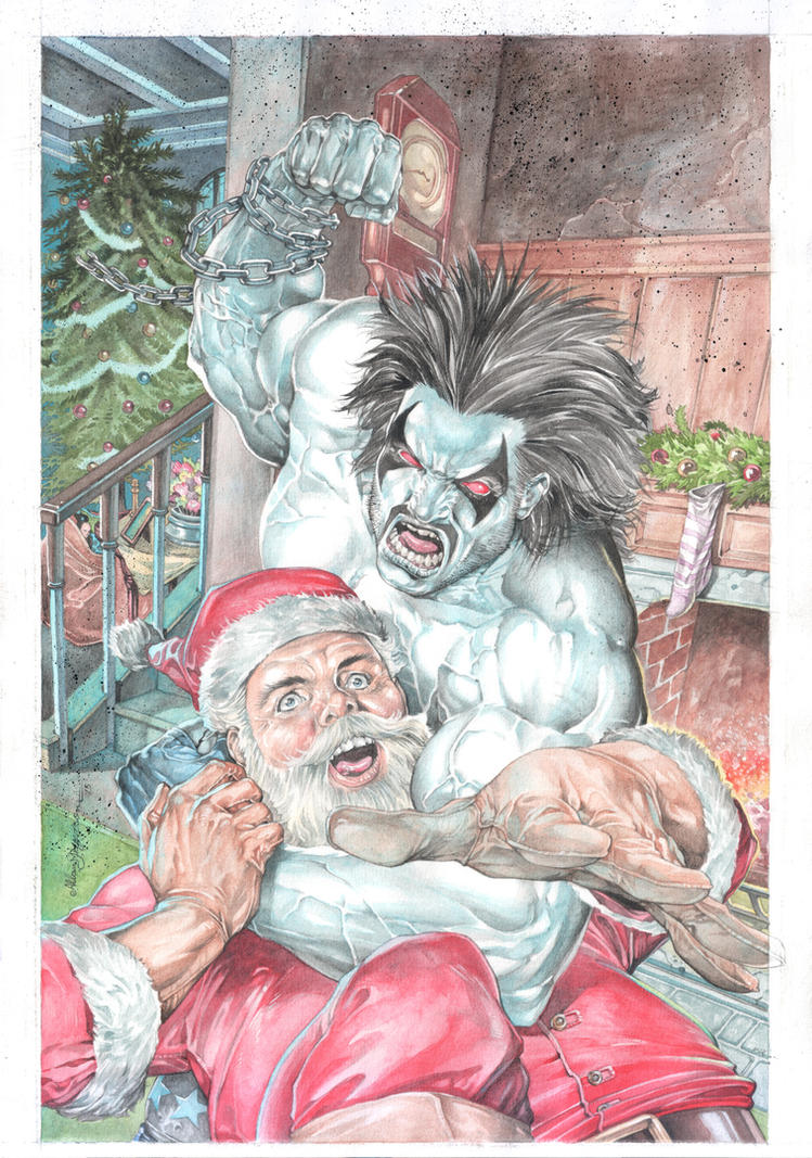 Lobo vs. Santa Claus_Watercolor by AllJeff