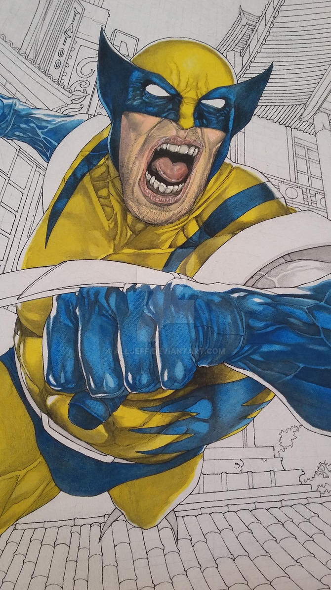 Wolverine on canvas_ Painting Wip 2 by AllJeff