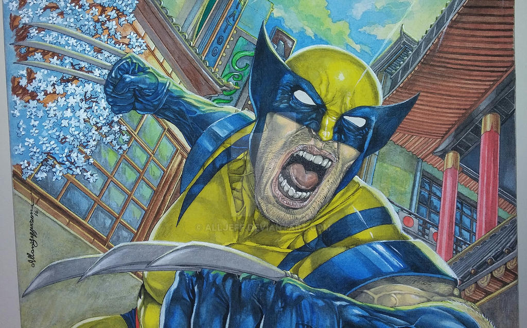 Wolverine on canvas_ Painting_ Detail by AllJeff