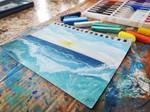 Ocean soft pastel drawing