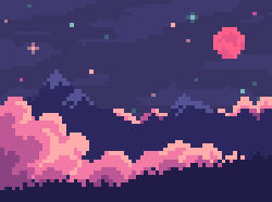 Pink night, and the head in the sky
