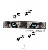 Wolf Eyes and Paw Prints by Arteestique