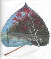 Fall Scene on a leaf by Arteestique