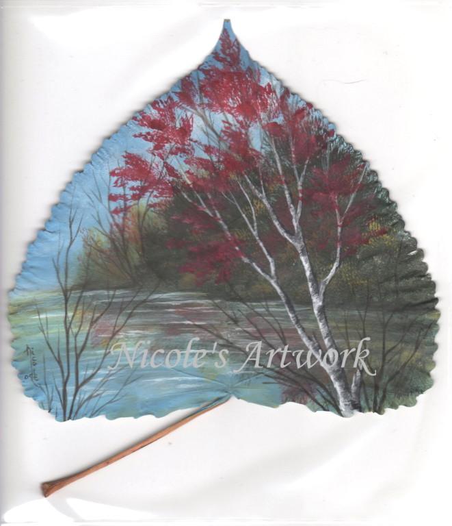 Fall Scene on a leaf by Arteestique