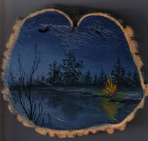 Painting on tree trunk by Arteestique