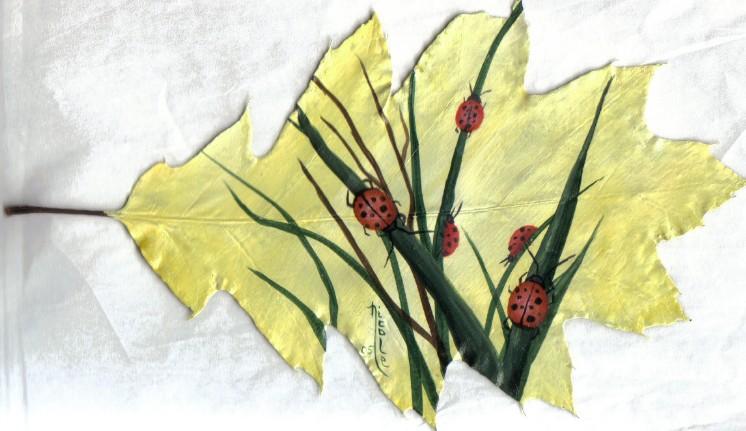 Ladybugs on Leaf by Arteestique