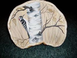 Woodpecker on tree mushroom by Arteestique