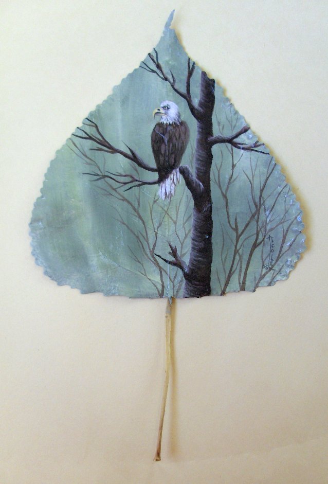 Eagle...painted on a leaf by Arteestique