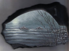 Swimming wolves...on rock by Arteestique