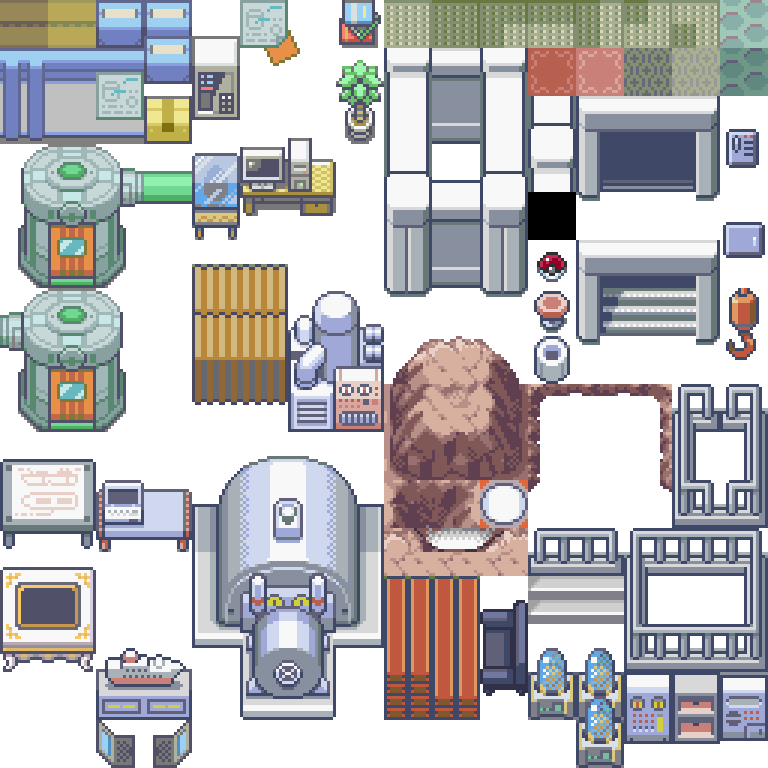 Pokemon, aqua, hideout, bill's house, tileset, RBY