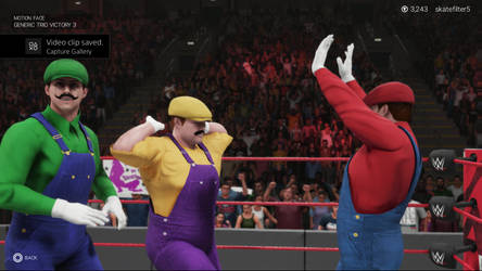 WWE 2k19 Mario Luigi and Wario Victory Pose