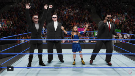 The Queen with 3 Bodyguards Victory Pose