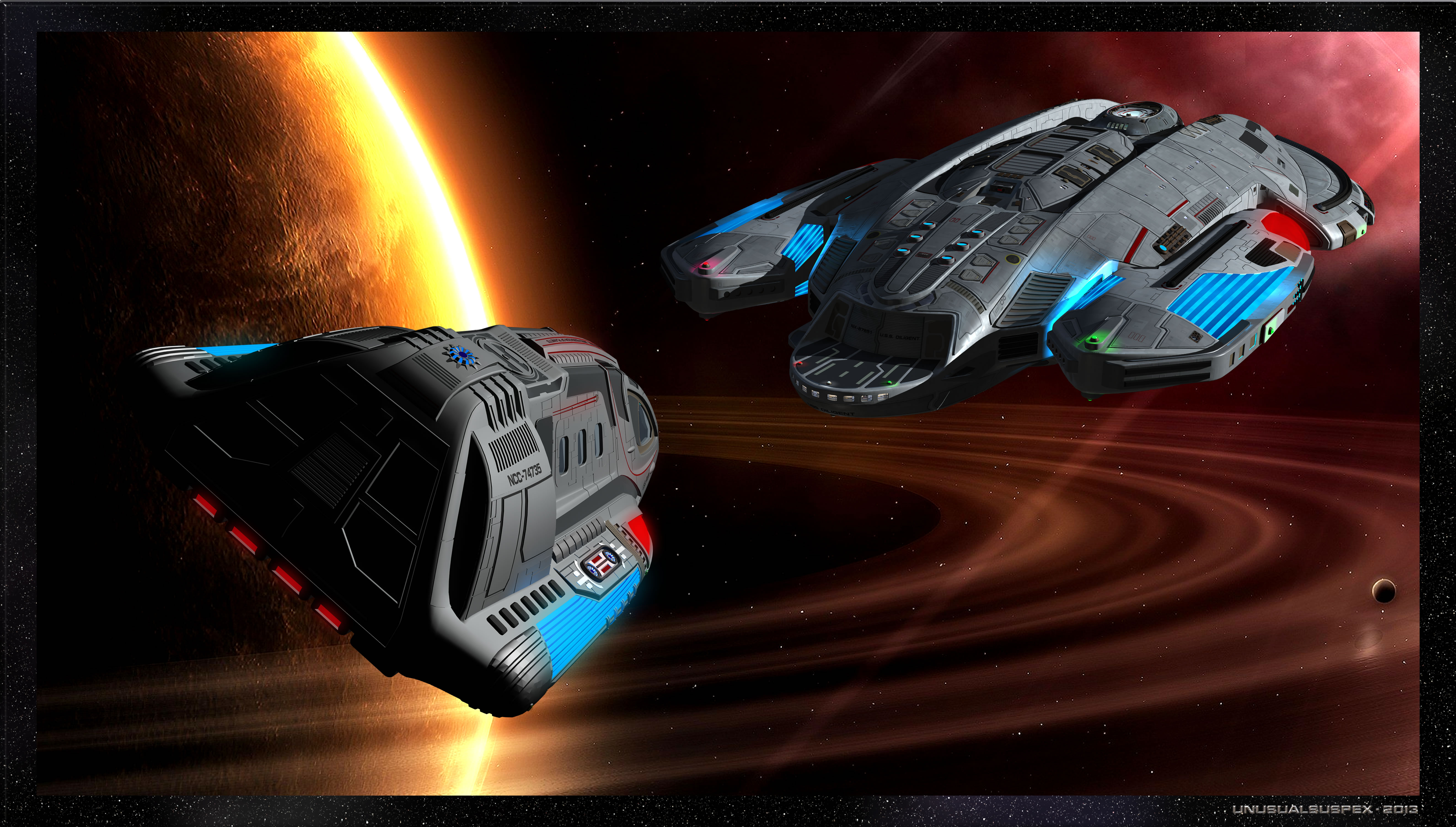Volga class runabout and Diligent class starship by unusualsuspex