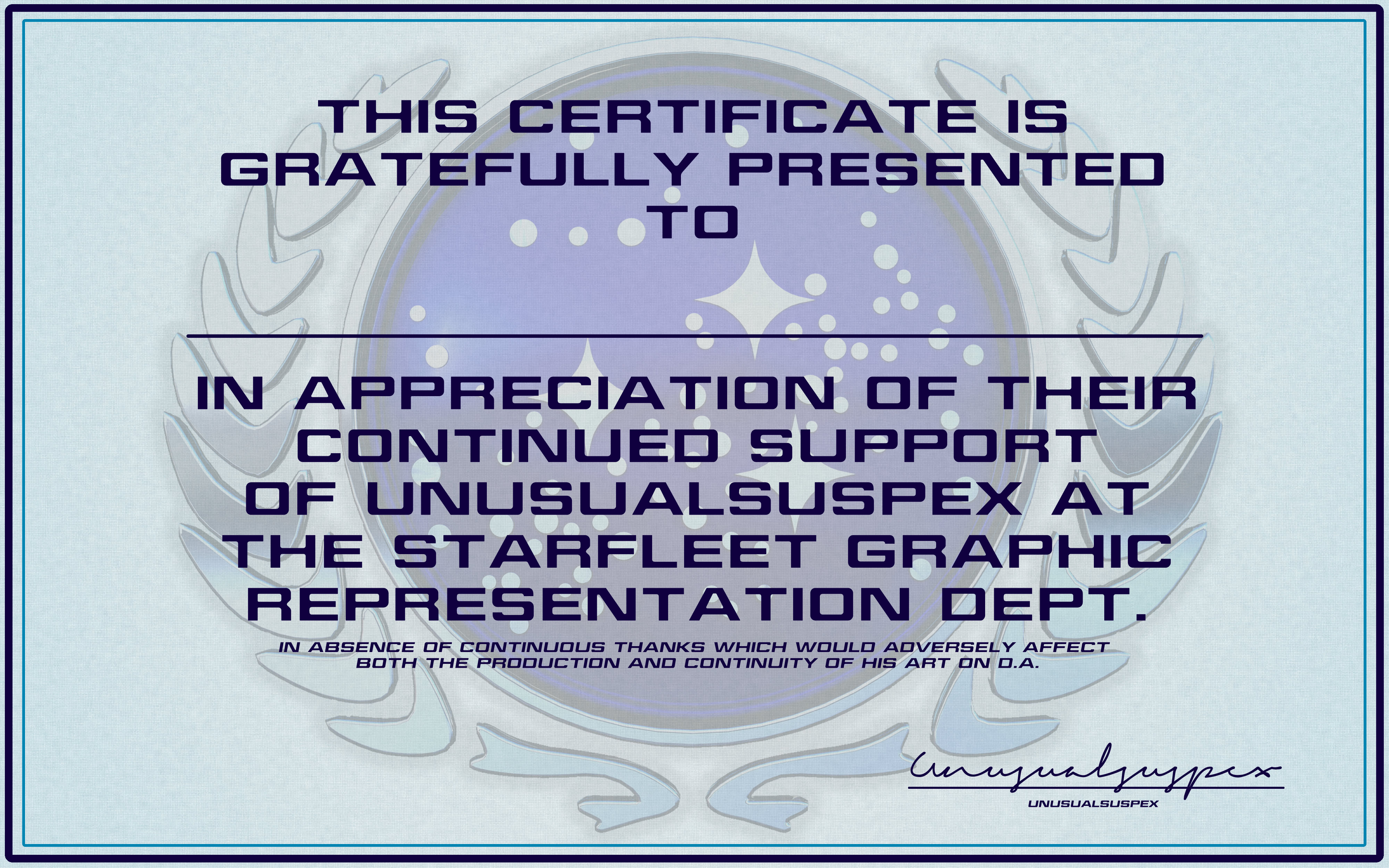 Certificate Of Thanks