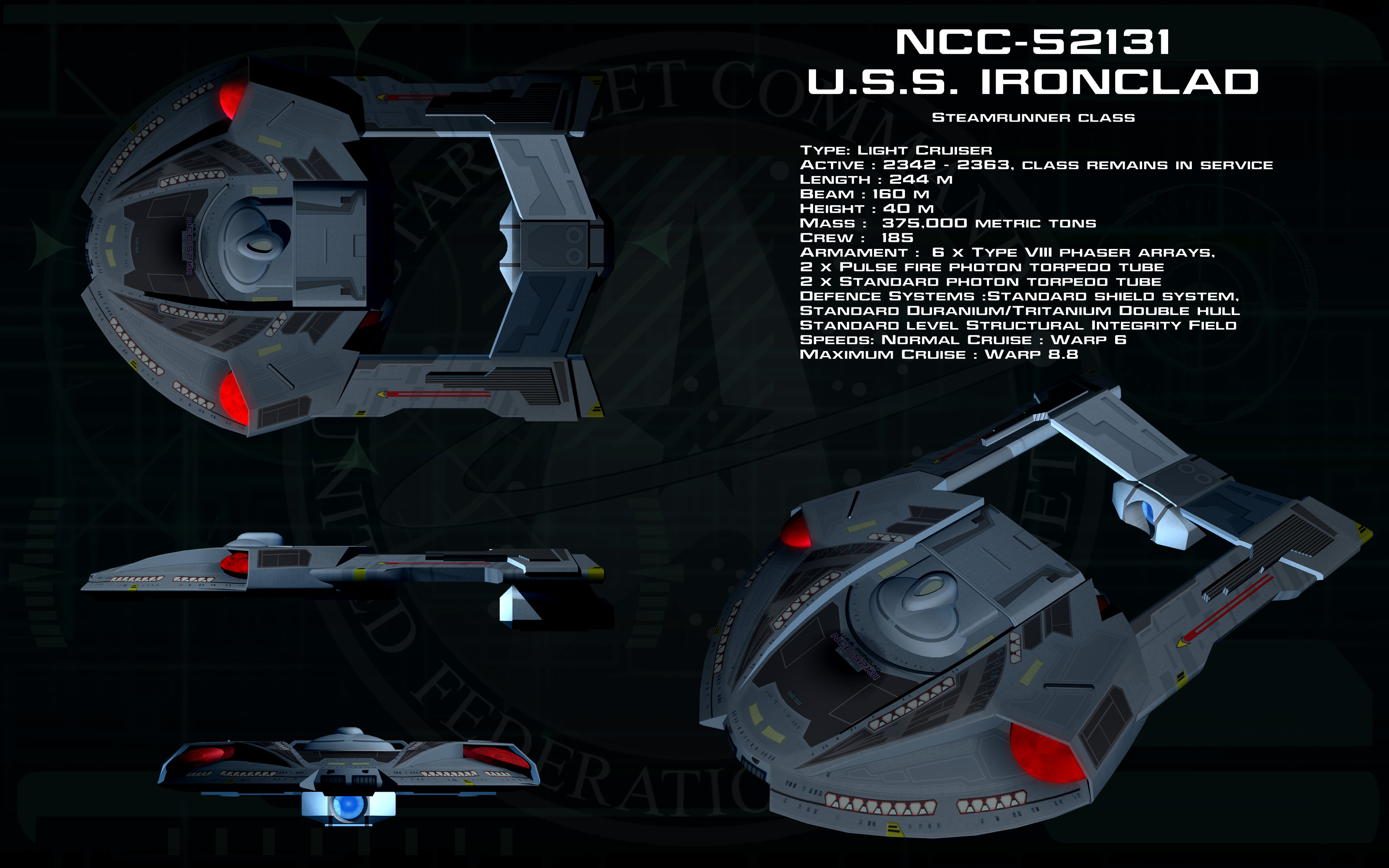 Steamrunner class ortho - USS Ironclad by unusualsuspex
