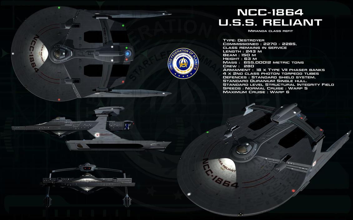 Miranda class Refit ortho - USS Reliant by unusualsuspex