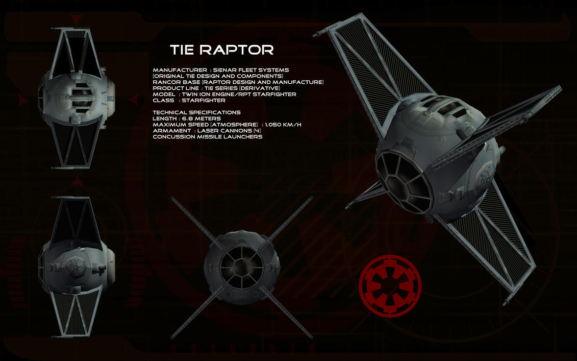 TIE Raptor Starfighter ortho by unusualsuspex