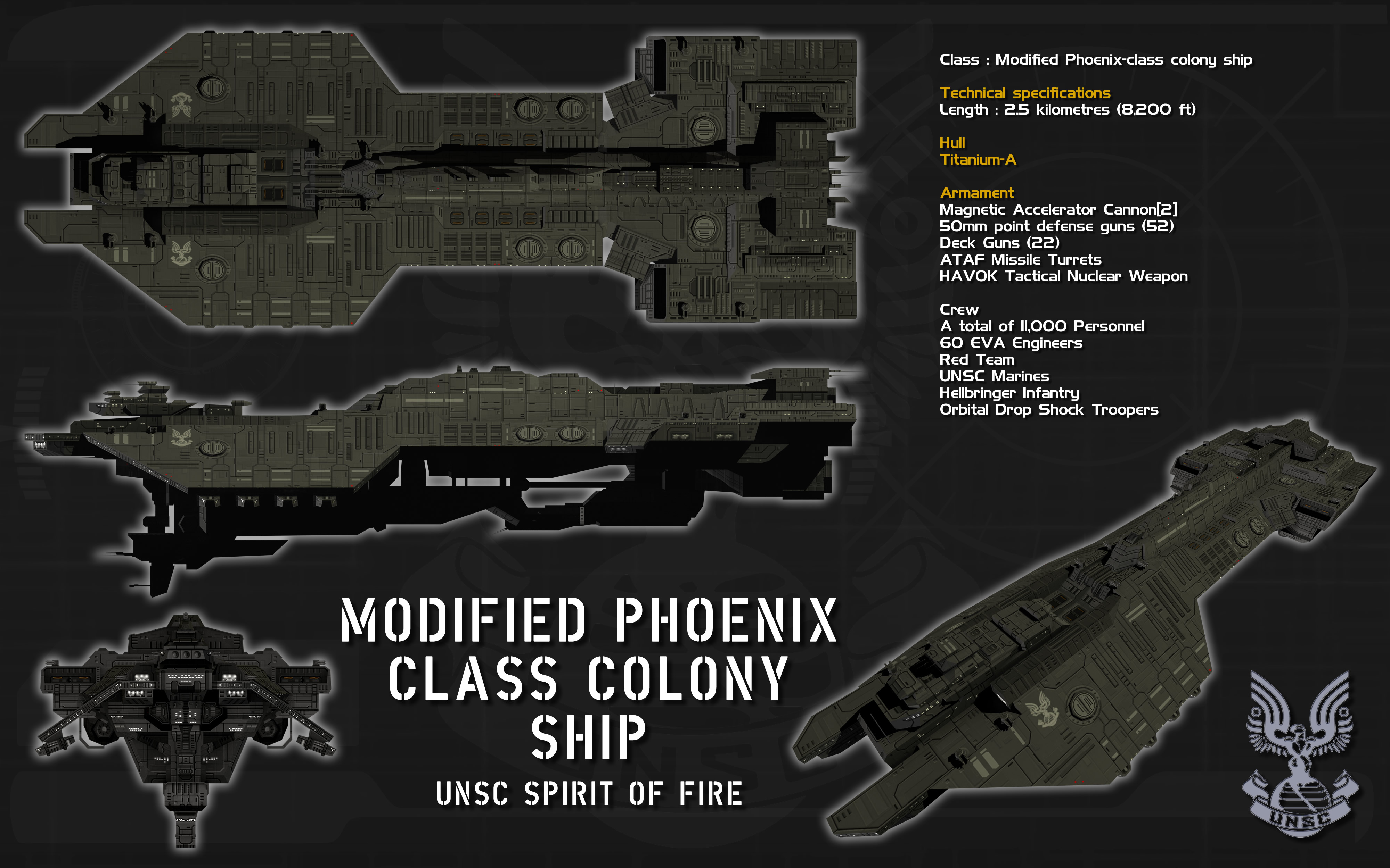 Modified Phoenix Class Colony Ship Ortho By Unusualsuspex