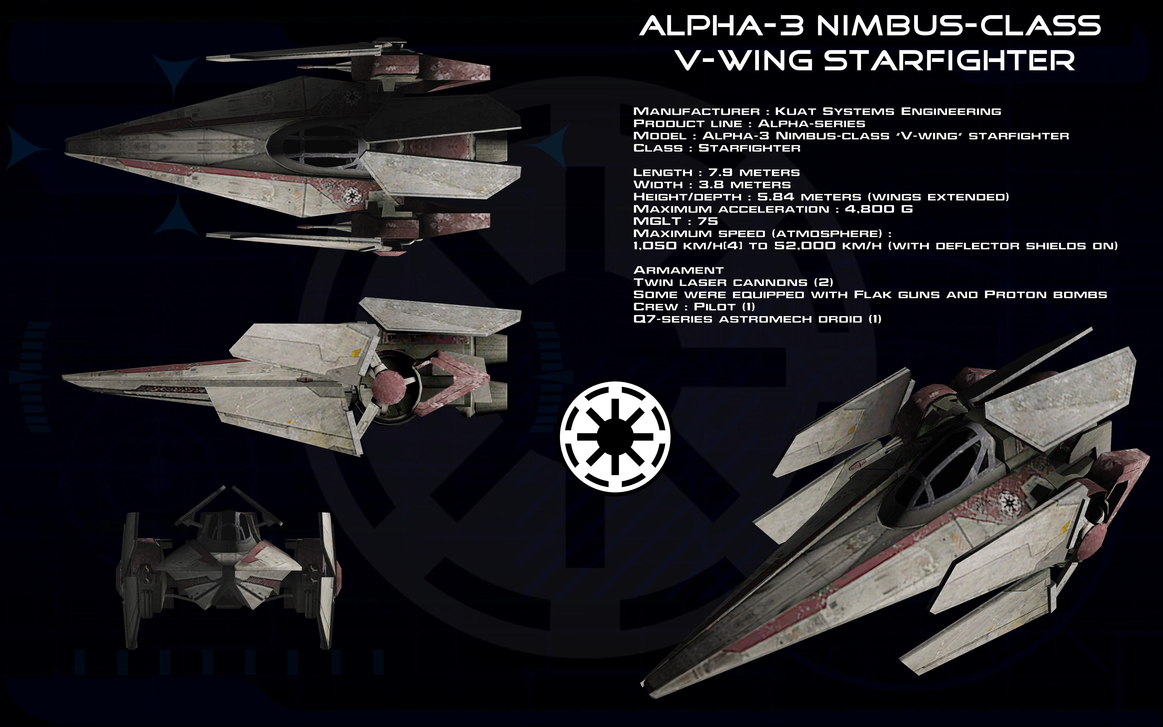 Alpha-3 Nimbus-class V-wing starfighter ortho 1 by unusualsuspex