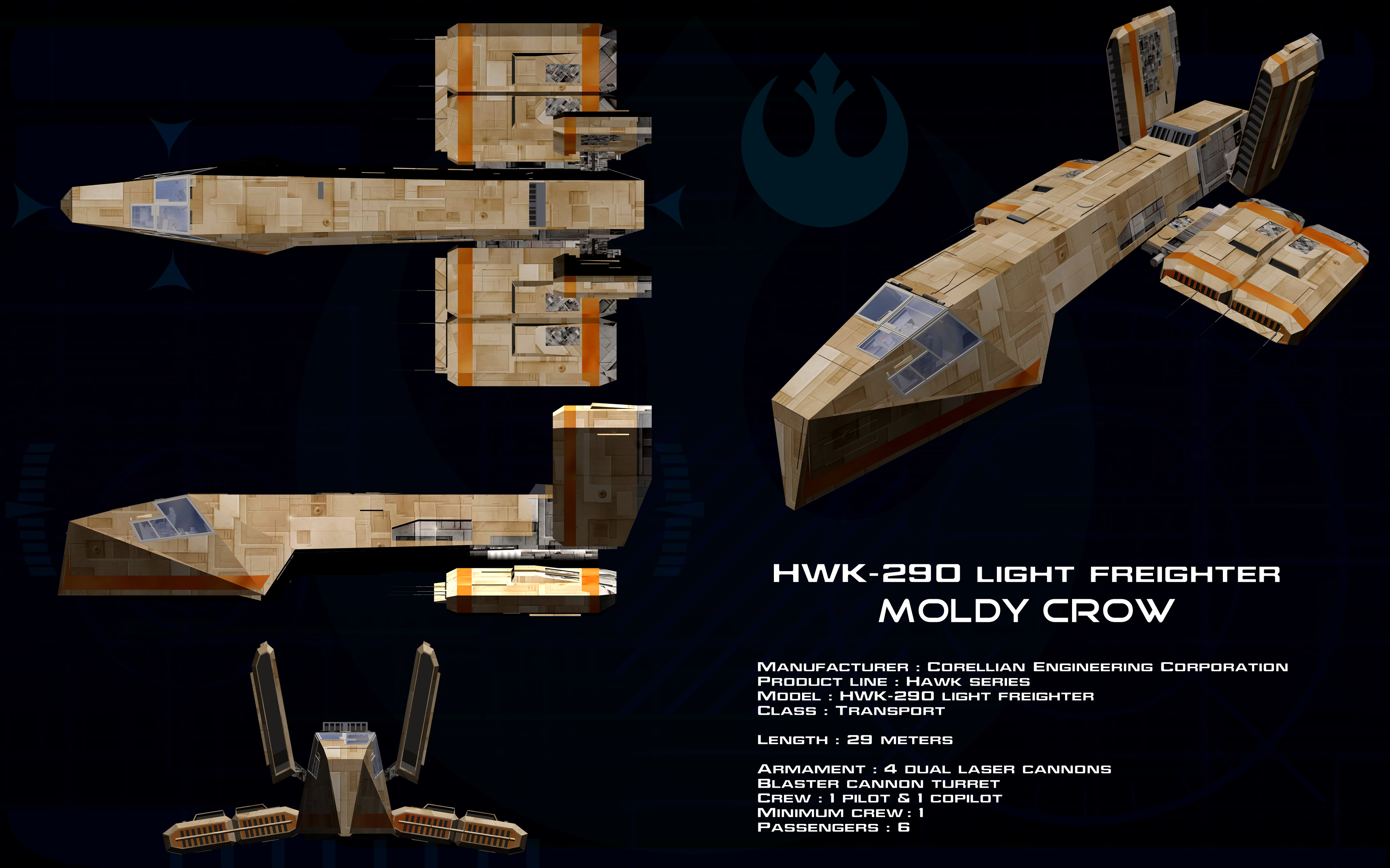 Hwk 290 Light Freighter Moldy Crow Ortho By Unusualsuspex