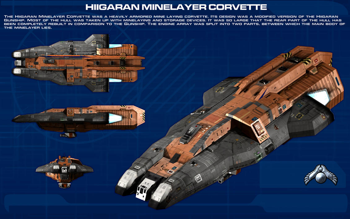 Hiigaran Minelayer Corvette ortho [new] by unusualsuspex