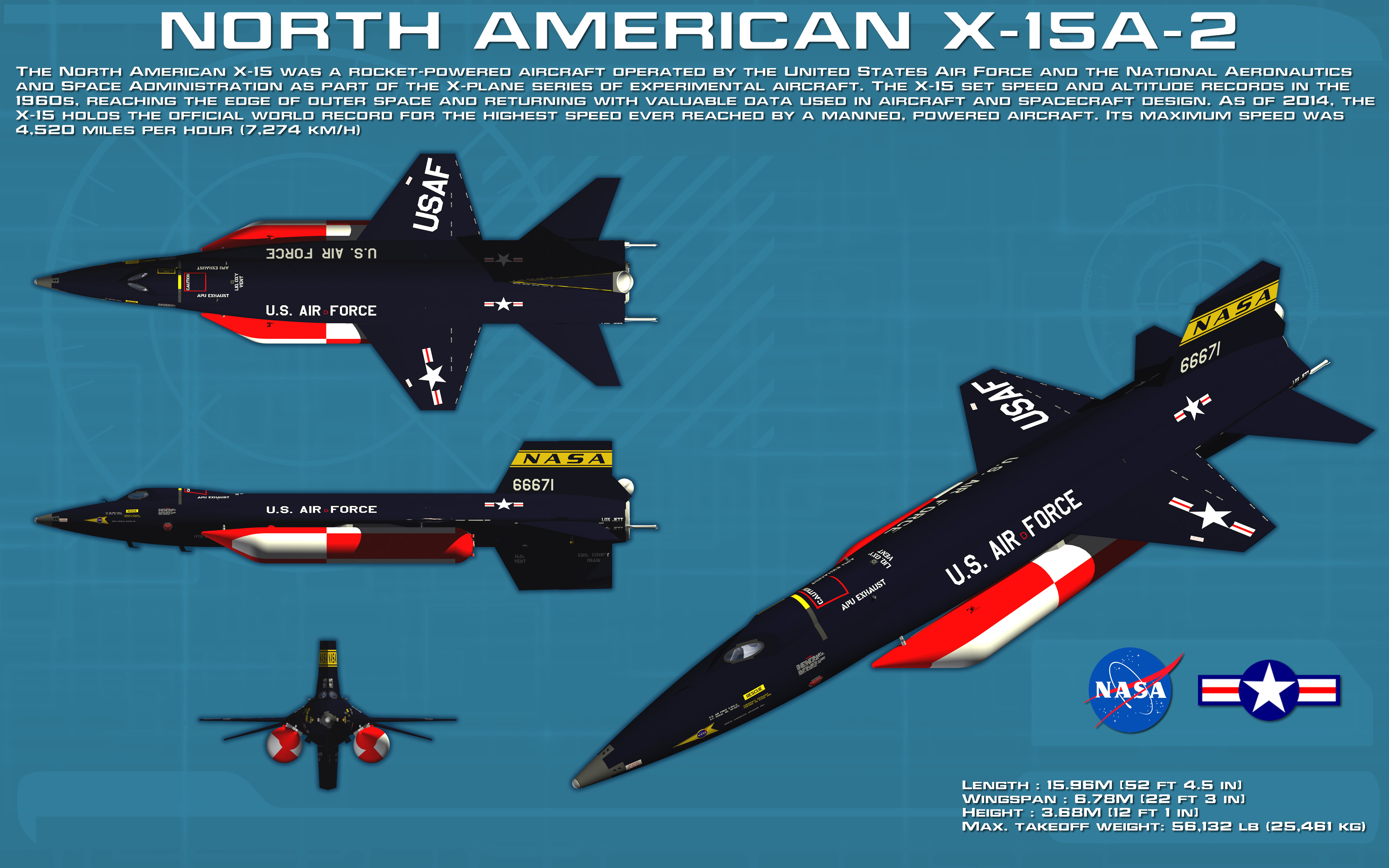 North American X-15A-2 ortho [new] by unusualsuspex on DeviantArt