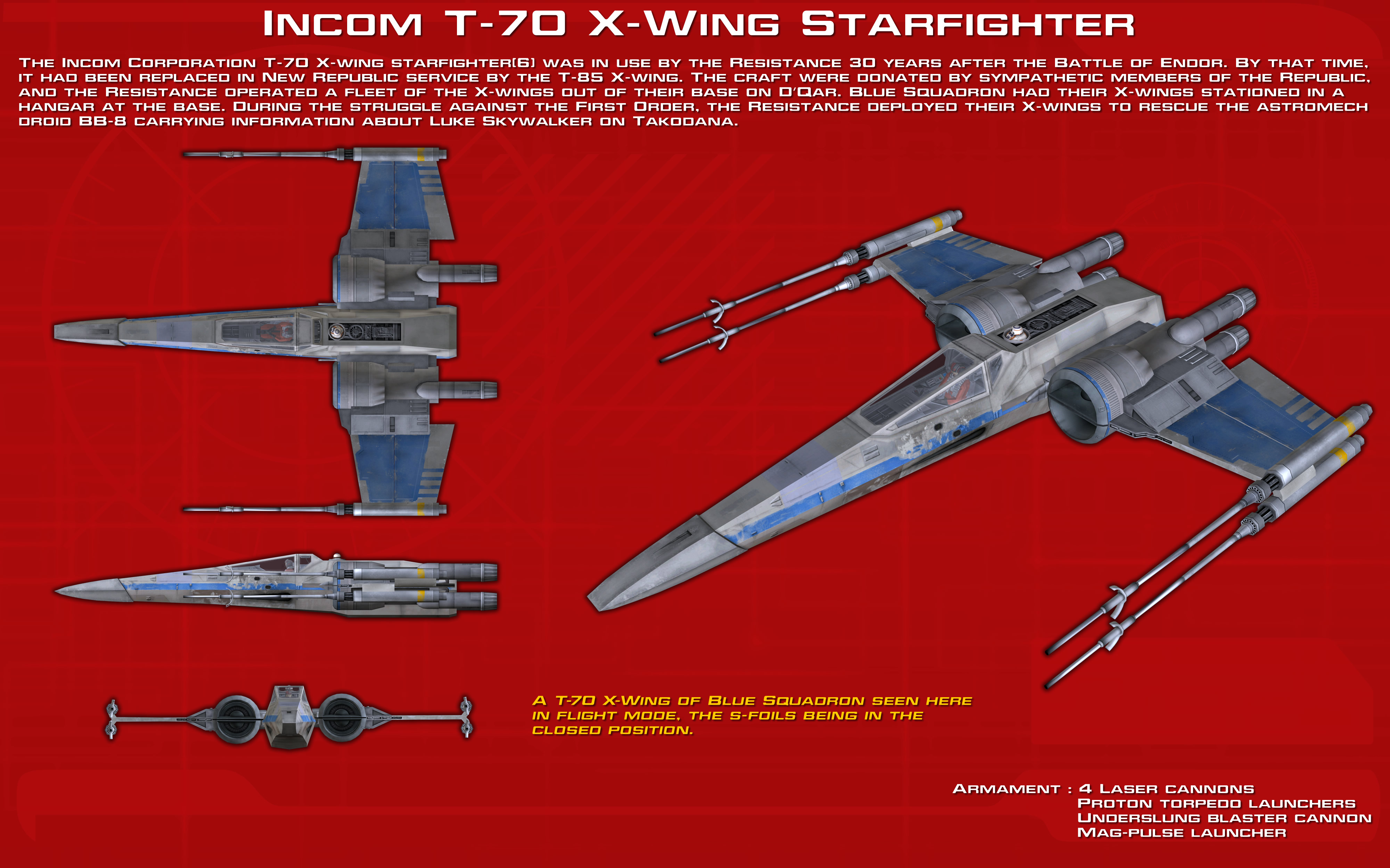 Incom T-70 X-Wing Starfighter ortho [2][Update] by ... on