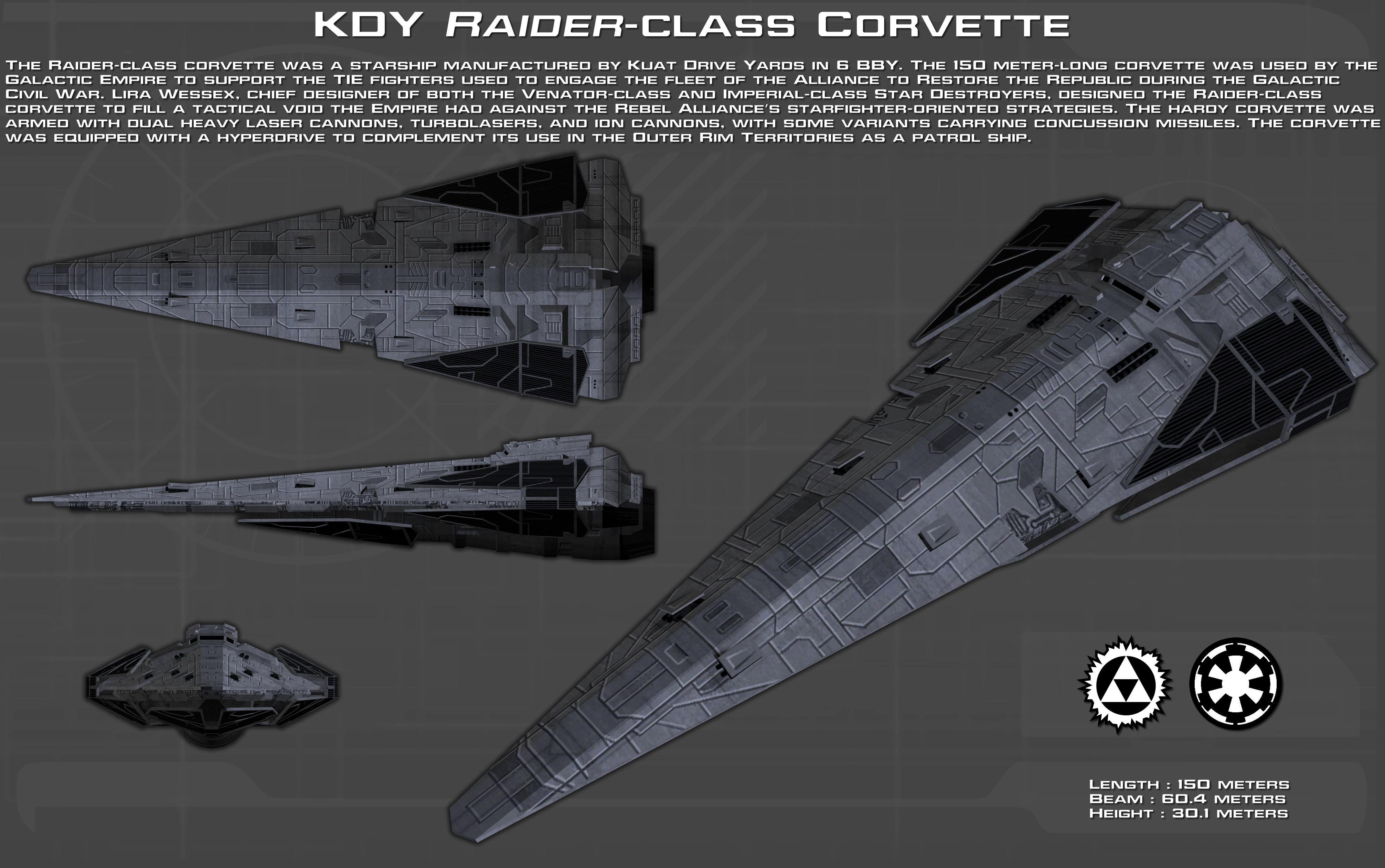 KDY Raider-class Corvette ortho [New] by unusualsuspex